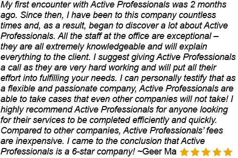 Active Professionals has very knowledgeable staff