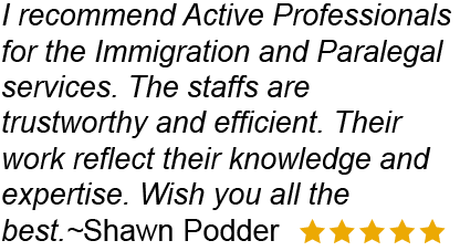 Active Professionals offers immigration and paralegal services