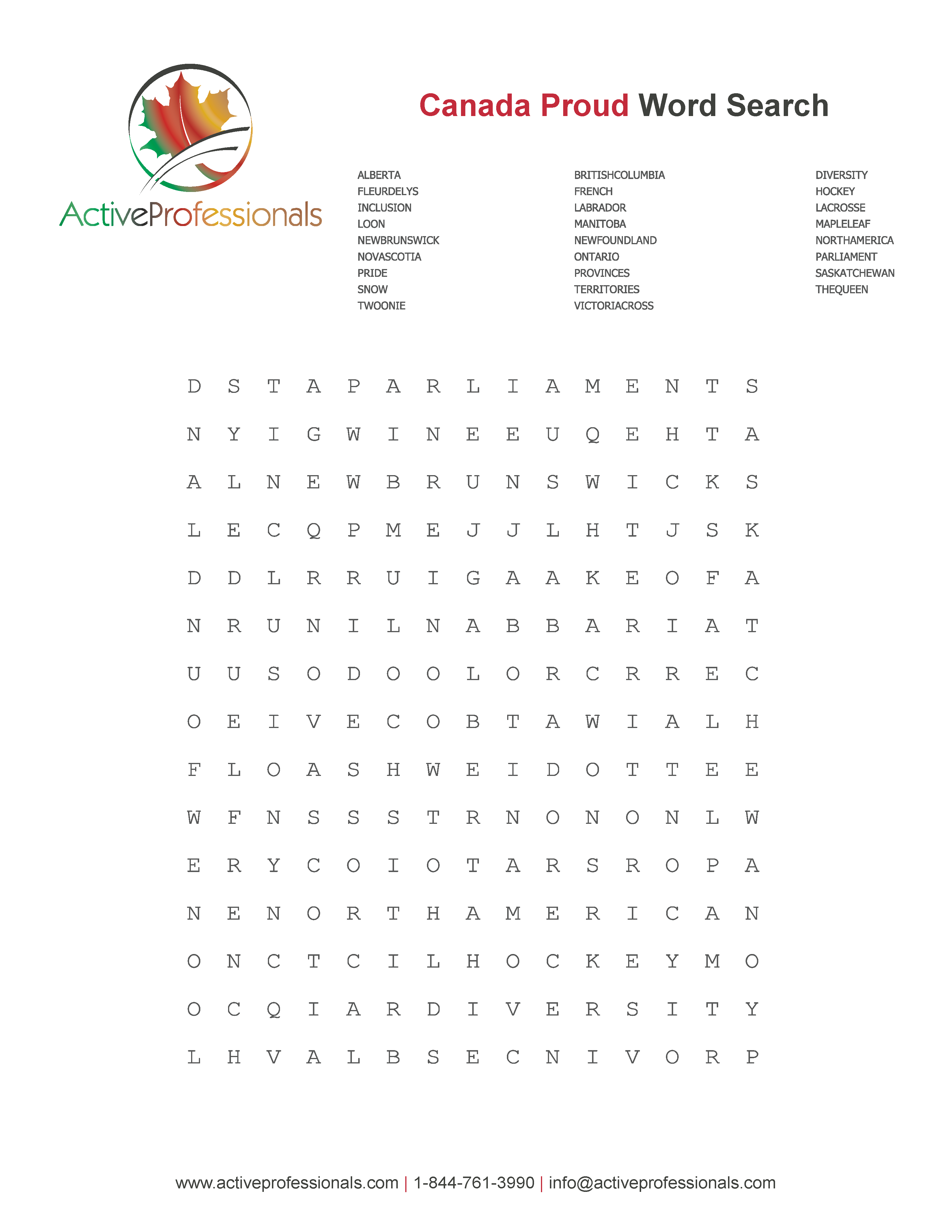 Canadian Pride Word Search