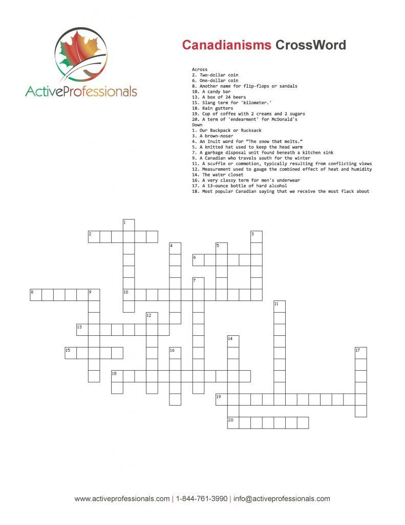 Canadian Slang Crossword Puzzle